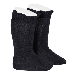 Knee socks with lace edging socks NAVY BLUE
