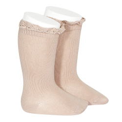 Knee socks with lace edging socks OLD ROSE