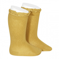 Knee socks with lace edging socks MUSTARD