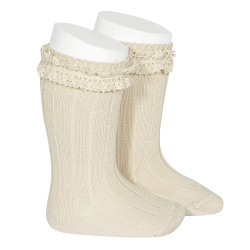 Rib knee-high socks with vintage lace LINEN
