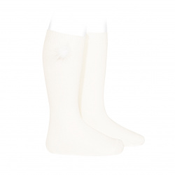 Knee-high socks with faux fur pompom CREAM
