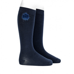 Knee-high socks with faux fur pompom NAVY BLUE