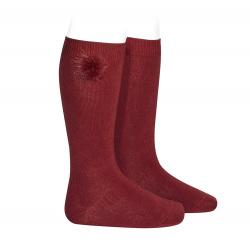 Knee-high socks with faux fur pompom BURGUNDY