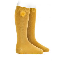 Knee-high socks with faux fur pompom MUSTARD