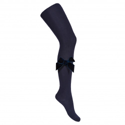 Side velvet bow tights NAVY BLUE