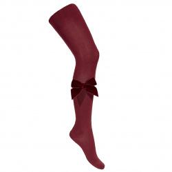 Side velvet bow tights GARNET