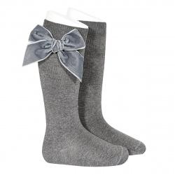 Side velvet bow knee-high socks LIGHT GREY