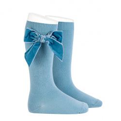Side velvet bow knee-high socks CLOUD