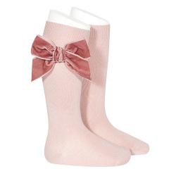 Side velvet bow knee-high socks PALE PINK