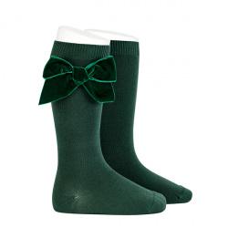 Side velvet bow knee-high socks PINE