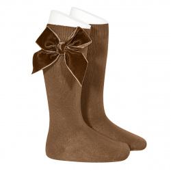 Side velvet bow knee-high socks TOFFEE