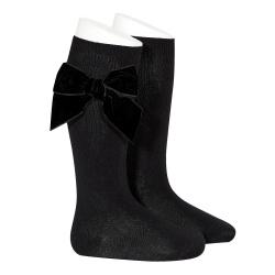 Side velvet bow knee-high socks BLACK