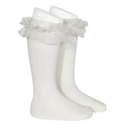Tulle ruffle knee-high socks CREAM