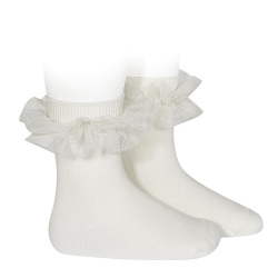 Tulle ruffle short socks CREAM
