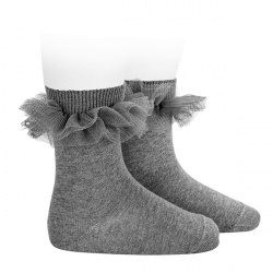Tulle ruffle short socks LIGHT GREY