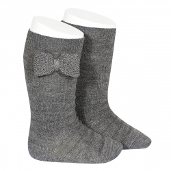 Knee-high socks with knitted bow LIGHT GREY