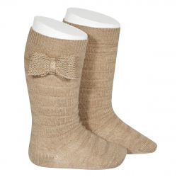 Knee-high socks with knitted bow NOUGAT
