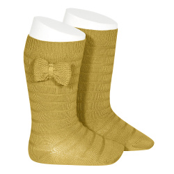 Knee-high socks with knitted bow MUSTARD