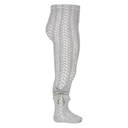 Openwork perle tights with side grossgrain bow ALUMINIUM