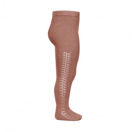 Side openwork warm tights TERRACOTA