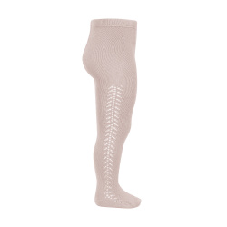 Side openwork warm tights OLD ROSE