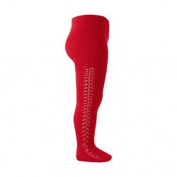 Side openwork warm tights RED