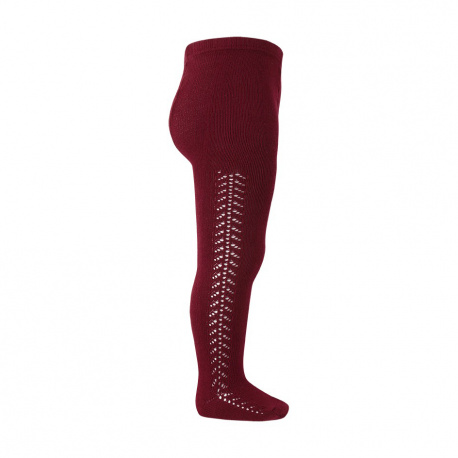 Side openwork warm tights BURGUNDY