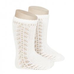 Side openwork knee-high warm-cotton socks CREAM