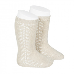 Side openwork knee-high warm-cotton socks LINEN