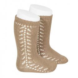 Side openwork knee-high warm-cotton socks CAMEL