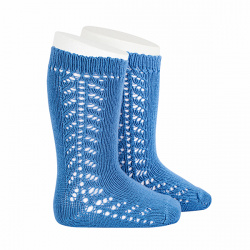 Side openwork knee-high warm-cotton socks FRENCH BLUE