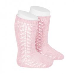 Side openwork knee-high warm-cotton socks PINK