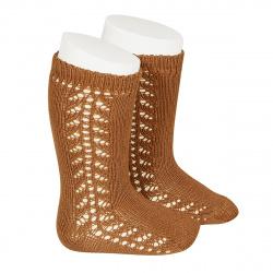 Side openwork knee-high warm-cotton socks OXIDE