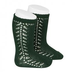 Side openwork knee-high warm-cotton socks BOTTLE GREEN