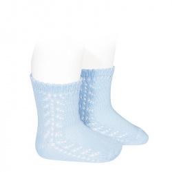 Baby side openwork short socks BABY BLUE