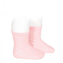 Baby side openwork short socks PINK