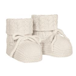 Baby aran stitch booties LINEN