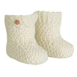 Merino-acrylic baby booties BEIGE