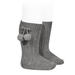 Warm cotton rib knee-high socks with pompoms LIGHT GREY