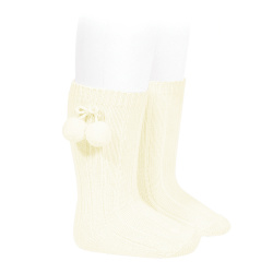 Warm cotton rib knee-high socks with pompoms BEIGE