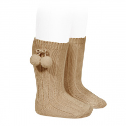 Warm cotton rib knee-high socks with pompoms CAMEL