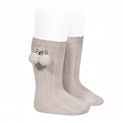 Warm cotton rib knee-high socks with pompoms STONE