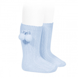 Warm cotton rib knee-high socks with pompoms BABY BLUE