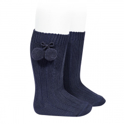 Warm cotton rib knee-high socks with pompoms NAVY BLUE