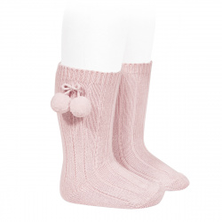 Warm cotton rib knee-high socks with pompoms PINK