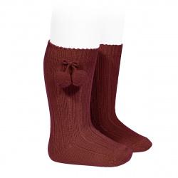 Warm cotton rib knee-high socks with pompoms BURGUNDY