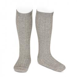 Lurex rib knee-high socks LIGHT GREY