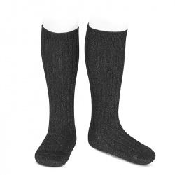 Lurex rib knee-high socks BLACK