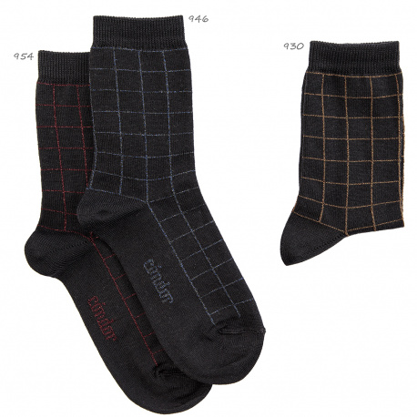 Bright short socks with small plaids