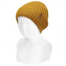 Merino wool-blend fold-over ribbed beanie CURRY